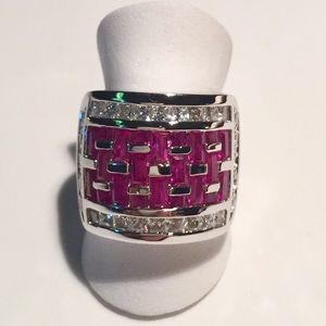 Ruby Diamond Vintage Cocktail Ring Sterling Silver